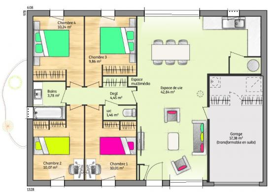 Maison+Terrain à vendre .(93 m²)(BRIGNOLES) avec (MAISONS FRANCE CONFORT)