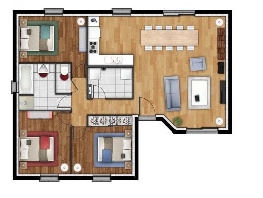 Maison+Terrain à vendre .(84 m²)(LE TILLEUL) avec (MAISONS EXTRACO- Agence du HAVRE)