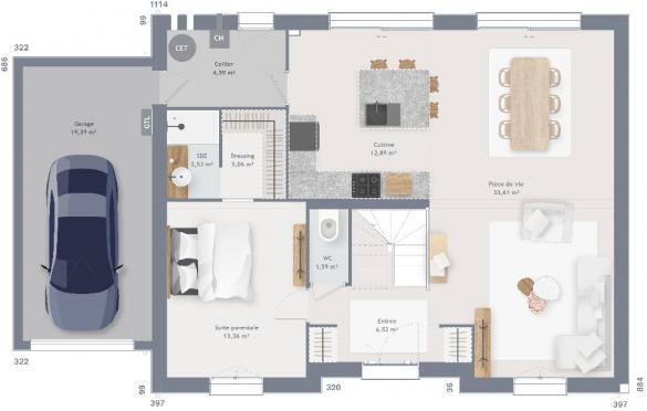 Maison+Terrain à vendre .(155 m²)(CAUDRY) avec (MAISONS FRANCE CONFORT)