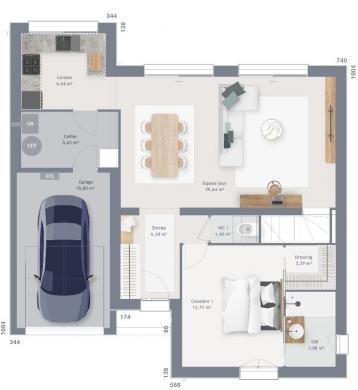 Maison+Terrain à vendre .(120 m²)(HOYMILLE) avec (MAISONS FRANCE CONFORT)