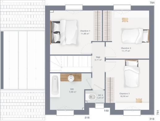 Maison+Terrain à vendre .(90 m²)(LEFOREST) avec (MAISONS FRANCE CONFORT)