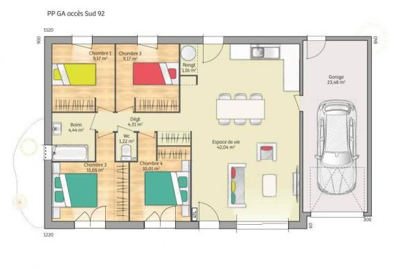 Maison+Terrain à vendre .(92 m²)(SAINS EN GOHELLE) avec (MAISONS FRANCE CONFORT)