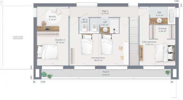 Maison+Terrain à vendre .(120 m²)(BAILLY ROMAINVILLIERS) avec (MAISONS BALENCY)