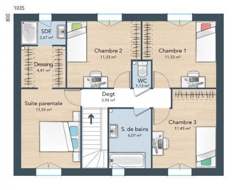 Maison+Terrain à vendre .(115 m²)(MOISSY CRAMAYEL) avec (MAISONS FRANCE CONFORT)