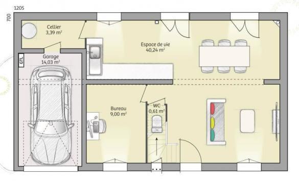 Maison+Terrain à vendre .(90 m²)(CONDECOURT) avec (MAISONS FRANCE CONFORT)
