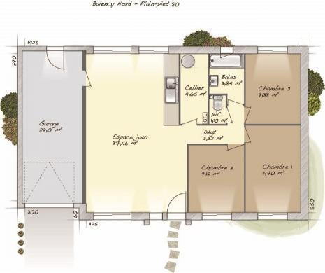 Maison+Terrain à vendre .(80 m²)(VERNON) avec (MAISONS BALENCY)