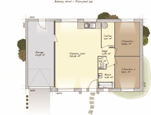 Maison+Terrain à vendre .(70 m²)(CAUMONT) avec (MAISONS BALENCY)