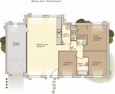 Maison+Terrain à vendre .(100 m²)(MONT CAUVAIRE) avec (MAISONS BALENCY)