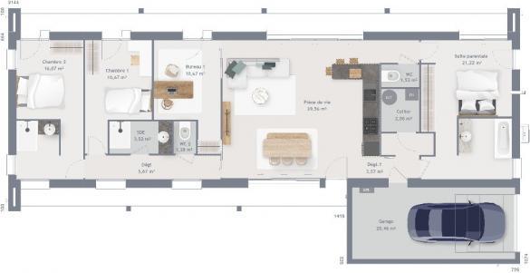 Maison+Terrain à vendre .(115 m²)(POMMERIEUX) avec (MAISONS FRANCE CONFORT)