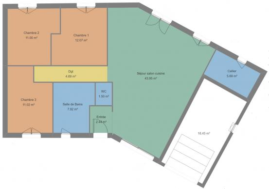 Maison+Terrain à vendre .(102 m²)(PONT DE VAUX) avec (LES DEMEURES REGIONALES)